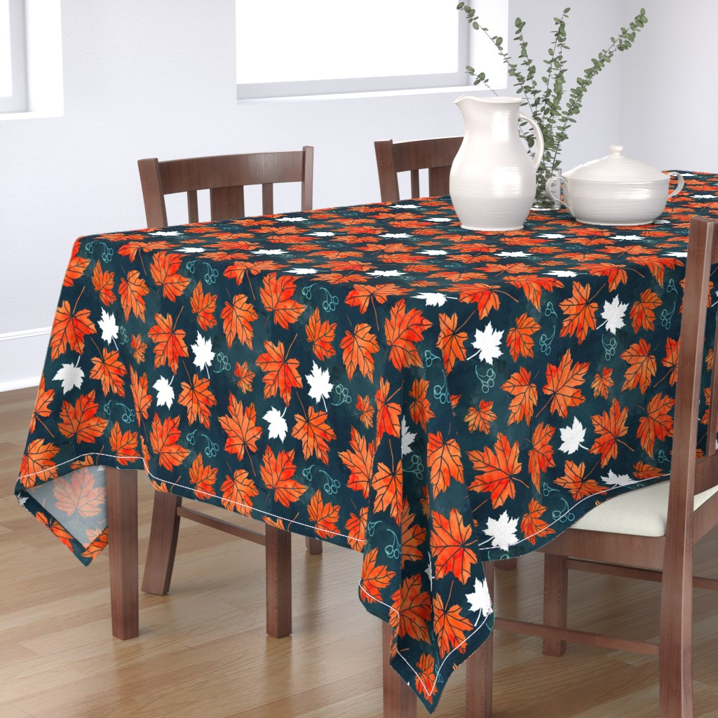 Bantam Rectangular Tablecloth featuring Autumn leaves against dark blue by adenaj