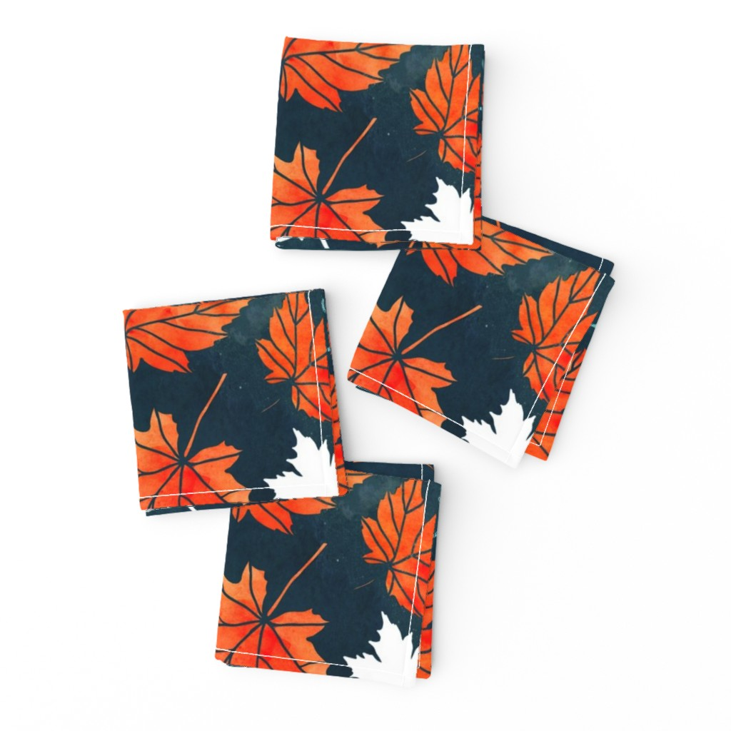 Frizzle Cocktail Napkins featuring Autumn leaves against dark blue by adenaj