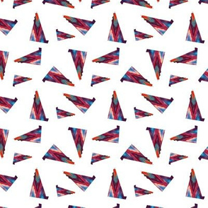Multicolor Triangles White Upholstery Fabric