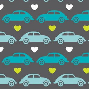 VW Beetle Love - Blue + Lime - Large