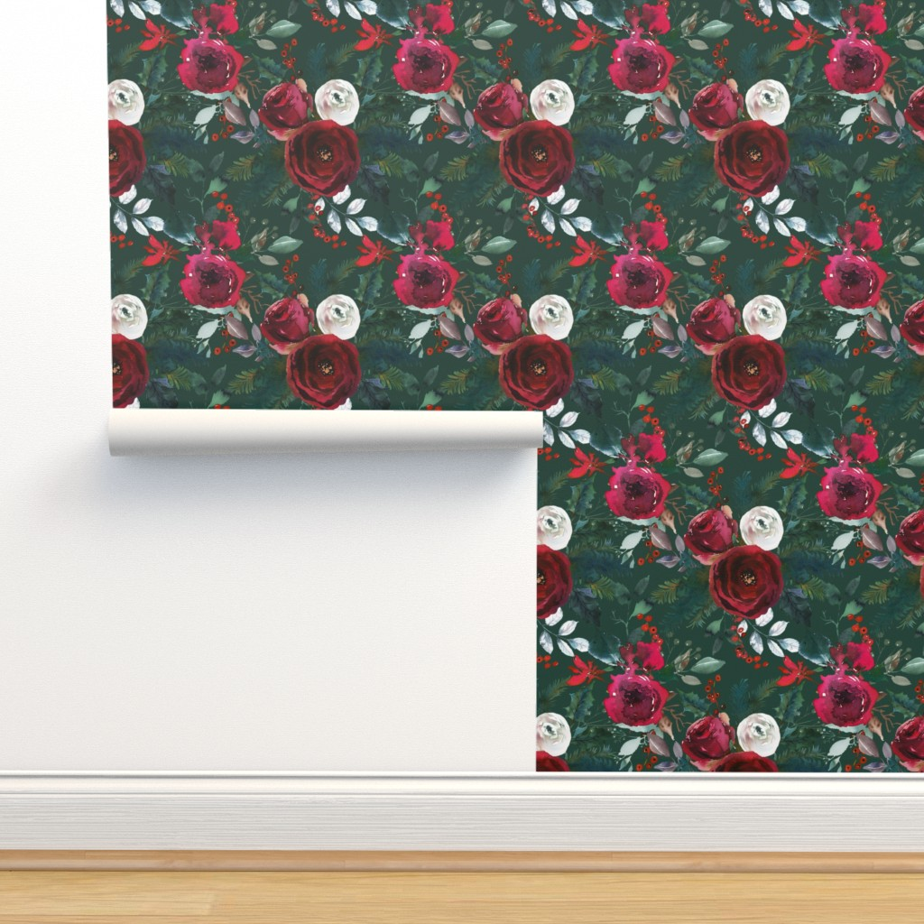 Isobar Durable Wallpaper featuring Christmas Floral Green by lil'faye