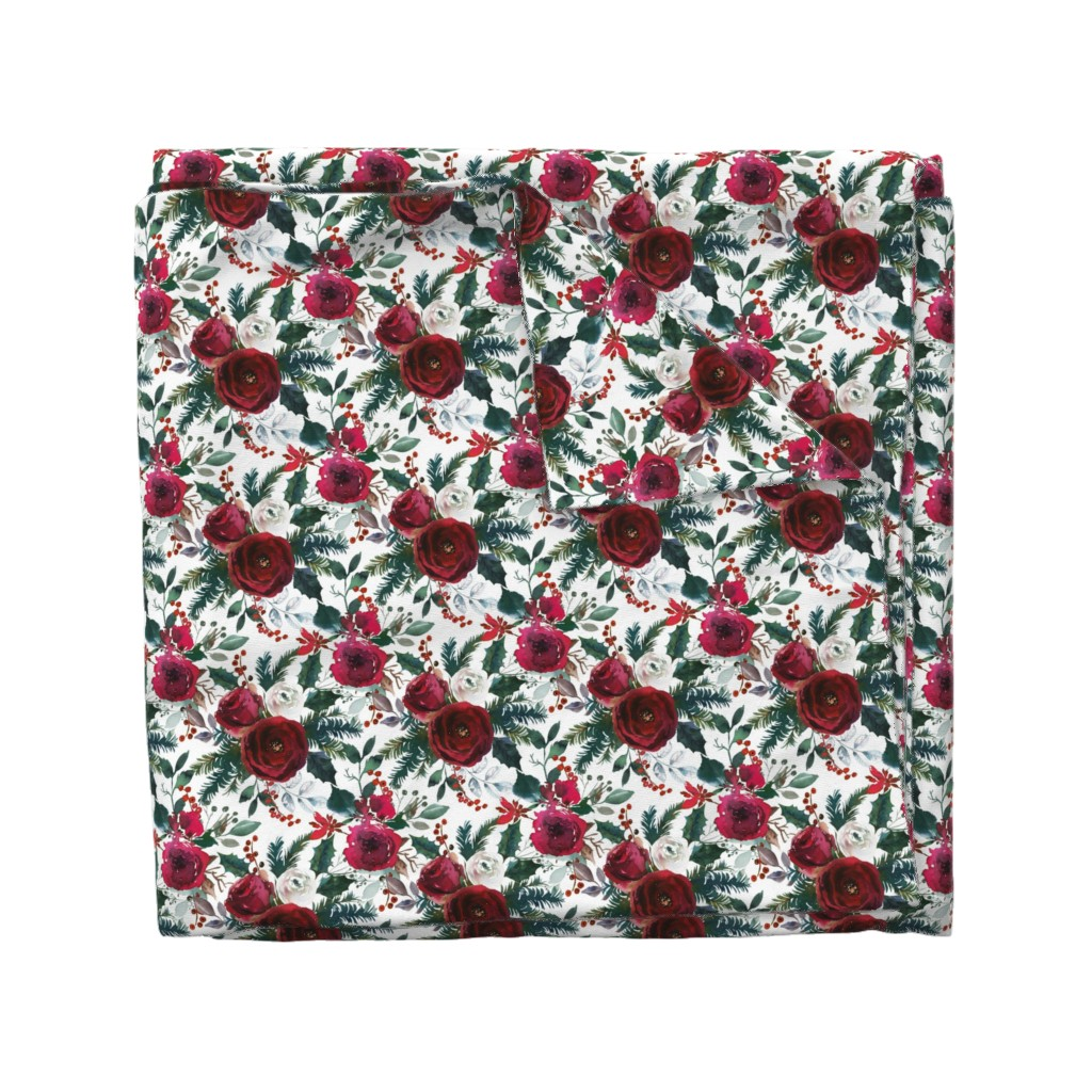 Wyandotte Duvet Cover featuring Christmas Floral White by lil'faye