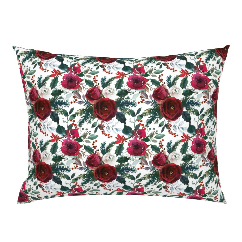 Campine Pillow Sham featuring Christmas Floral White by lil'faye