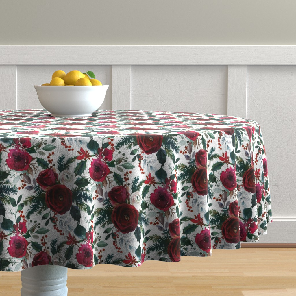 Malay Round Tablecloth featuring Christmas Floral White by lil'faye