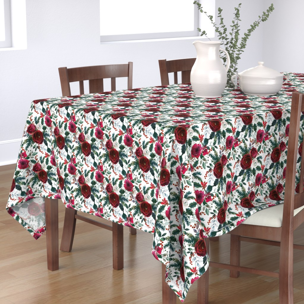 Bantam Rectangular Tablecloth featuring Christmas Floral White by lil'faye