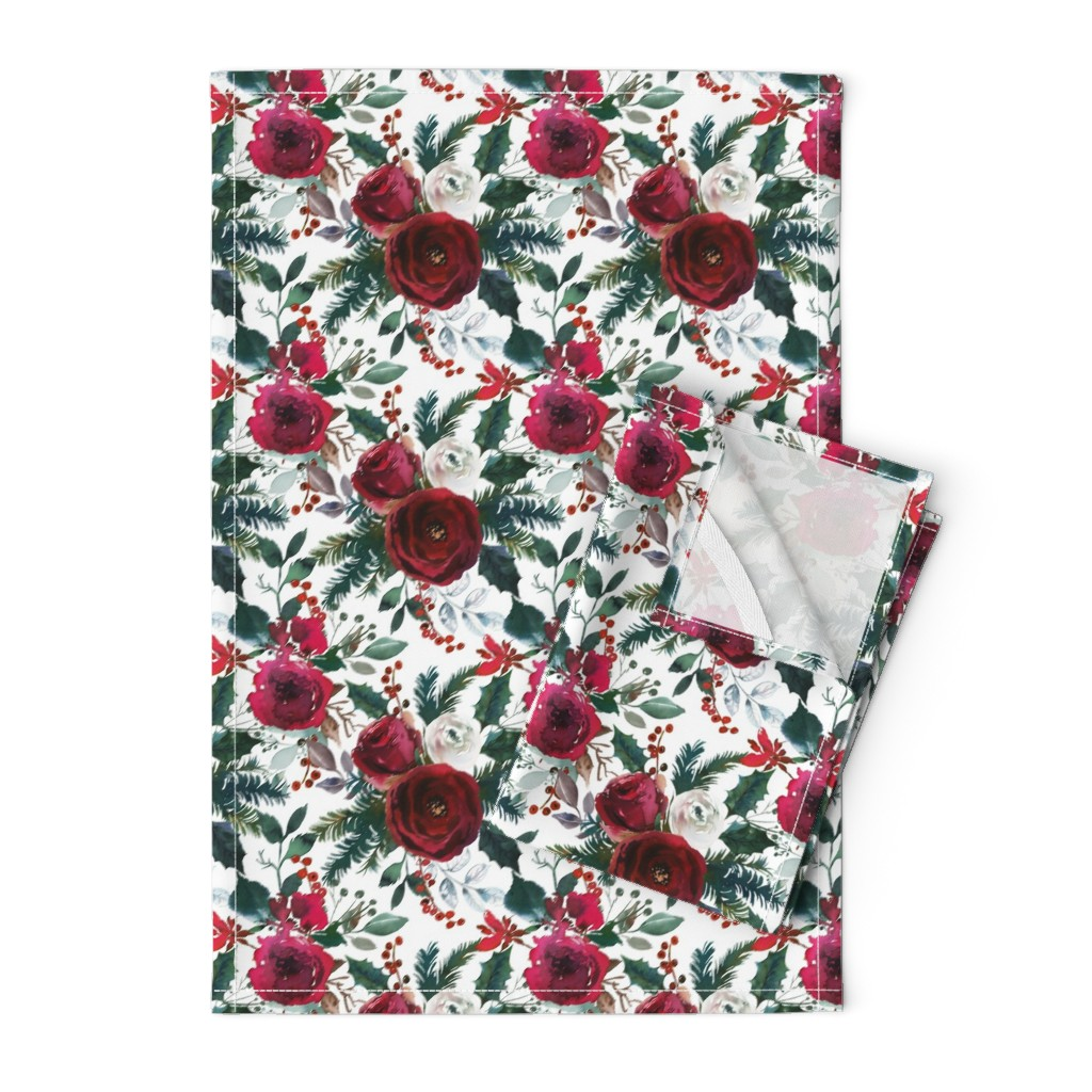 Orpington Tea Towels featuring Christmas Floral White by lil'faye
