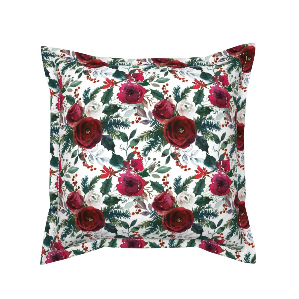 Serama Throw Pillow featuring Christmas Floral White by lil'faye