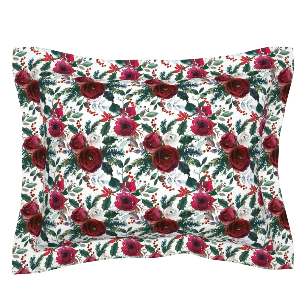 Sebright Pillow Sham featuring Christmas Floral White by lil'faye