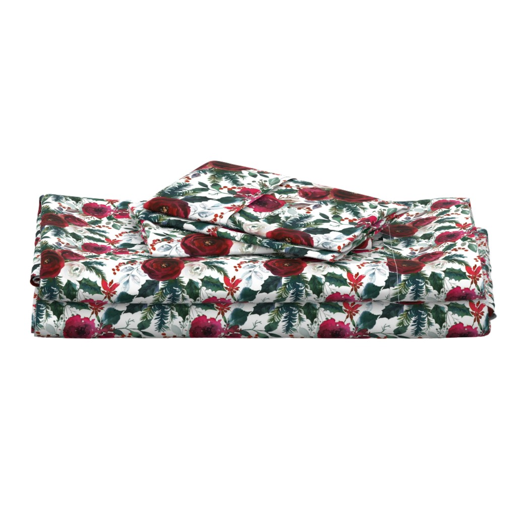 Langshan Full Bed Set featuring Christmas Floral White by lil'faye