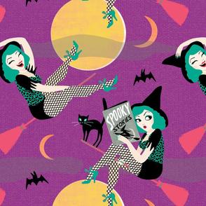 Vintage Halloween Pin Up Witch Girl // purple green moon black cat sexy cute retro saucy leopard print bat