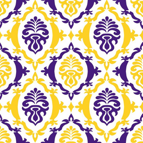 Purple and yellow team color damask