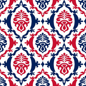Red and blue team color Damask