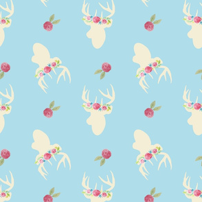 Deer_And_Flowers_Repeat_Blue