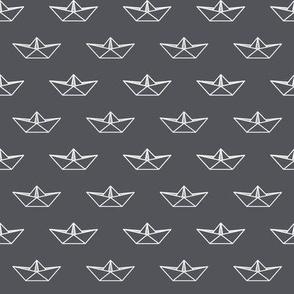 Origami Boats - Grey