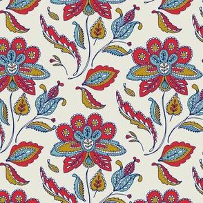 Vintage Ornate Flower - multi blue