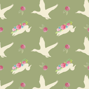 Duck_and_Flowers_Repeat_Green
