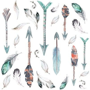 """8"""" ARROWS & FEATHERS / TEAL & CORAL"""