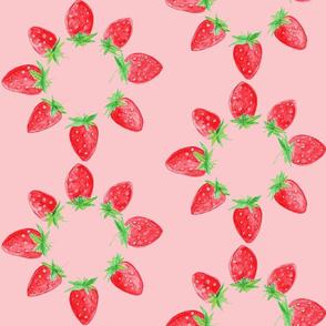 Blooming strawberries in pink