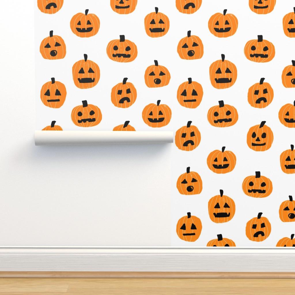 Pumpkin Halloween Cute Fabric Jack O Lantern White On