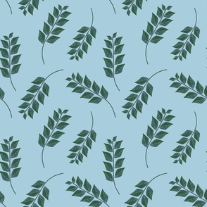 Branches on Light Blue Upholstery Fabric