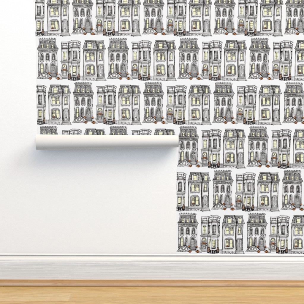 Isobar Durable Wallpaper featuring trick-or-treat on Main Street by dearling_design_co_