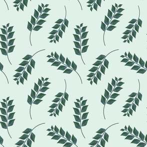 Branches on Light Green Upholstery Fabric