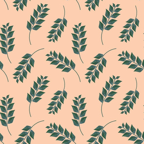Branches on Peach Upholstery Fabric