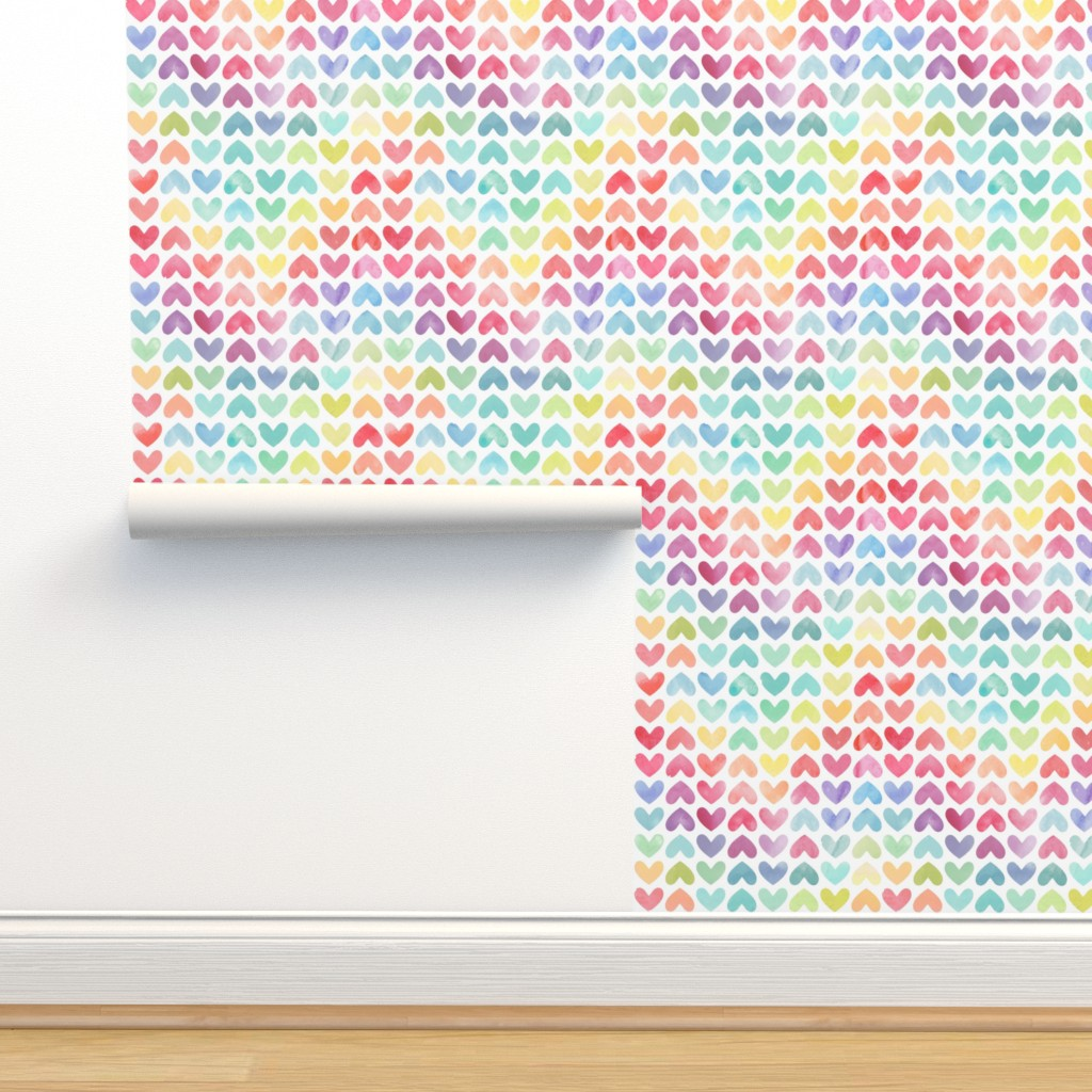 Isobar Durable Wallpaper featuring Rainbow Hearts by hipkiddesigns