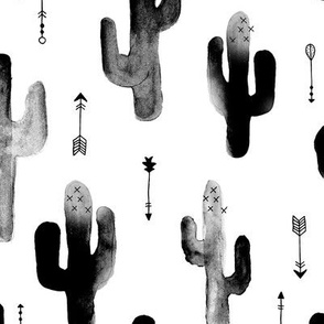 Black and white watercolors ink cactus garden gender neutral geometric arrows cowboy theme LARGE