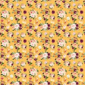 """2"""" Autumn Watercolor Floral on Mustard"""