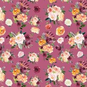 "4"" Autumn Watercolor Floral on Purple"