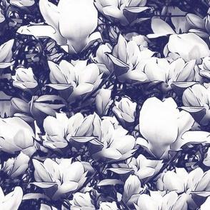 White Magnolias on Dark Blue Upholstery Fabric