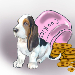 Basset Hound puppy dog fabric_cute puppy with cookies