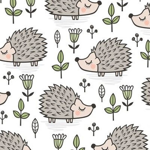 Hedgehog with Leaves and Flowers on White