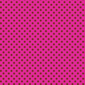 Dark brown polka dots on hot pink.