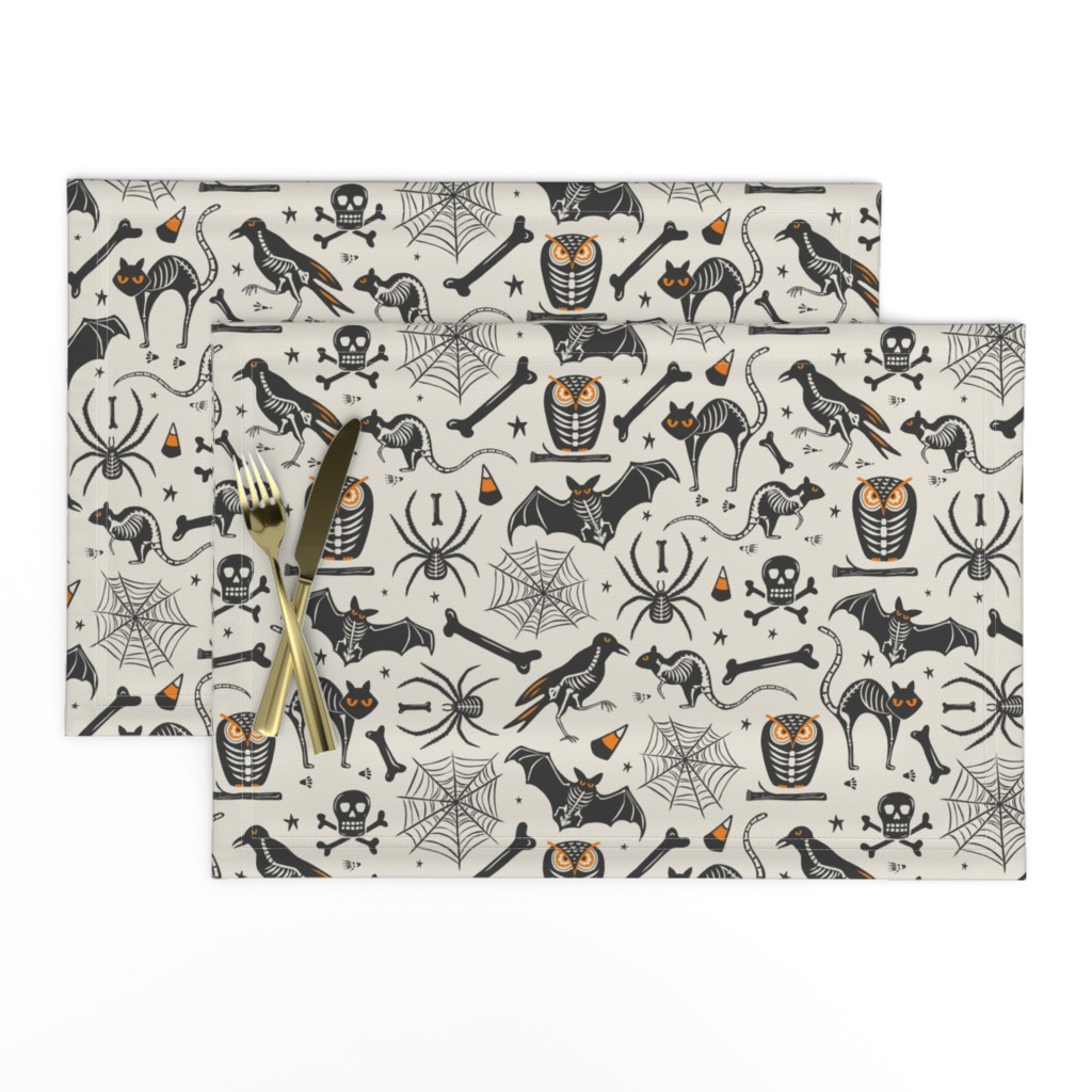 Lamona Cloth Placemats featuring Halloween X-Ray - Tan & Black by heatherdutton