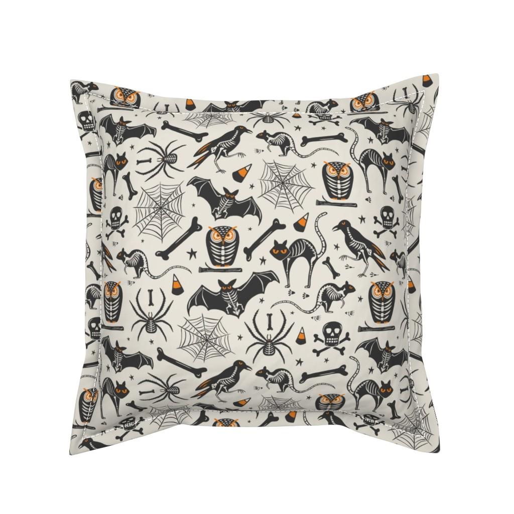 Serama Throw Pillow featuring Halloween X-Ray - Tan & Black by heatherdutton