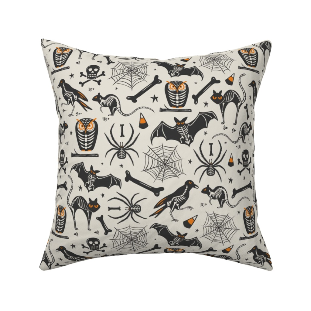 Catalan Throw Pillow featuring Halloween X-Ray - Tan & Black by heatherdutton