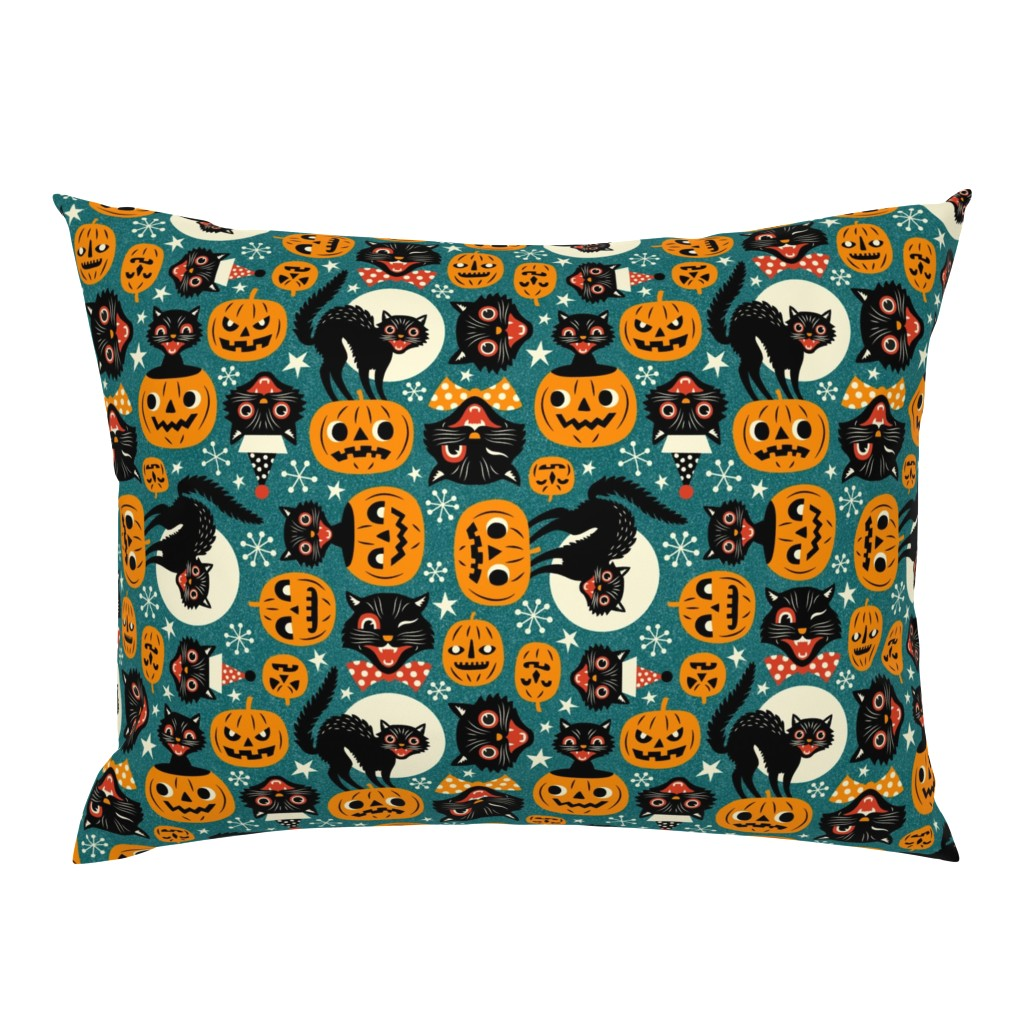 Campine Pillow Sham featuring spooky vintage cats and pumpkins - dark blue by mirabelleprint