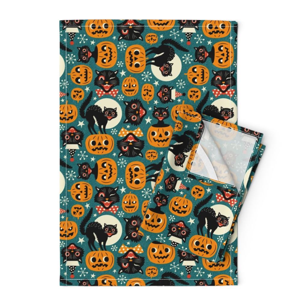 Orpington Tea Towels featuring spooky vintage cats and pumpkins - dark blue by mirabelleprint