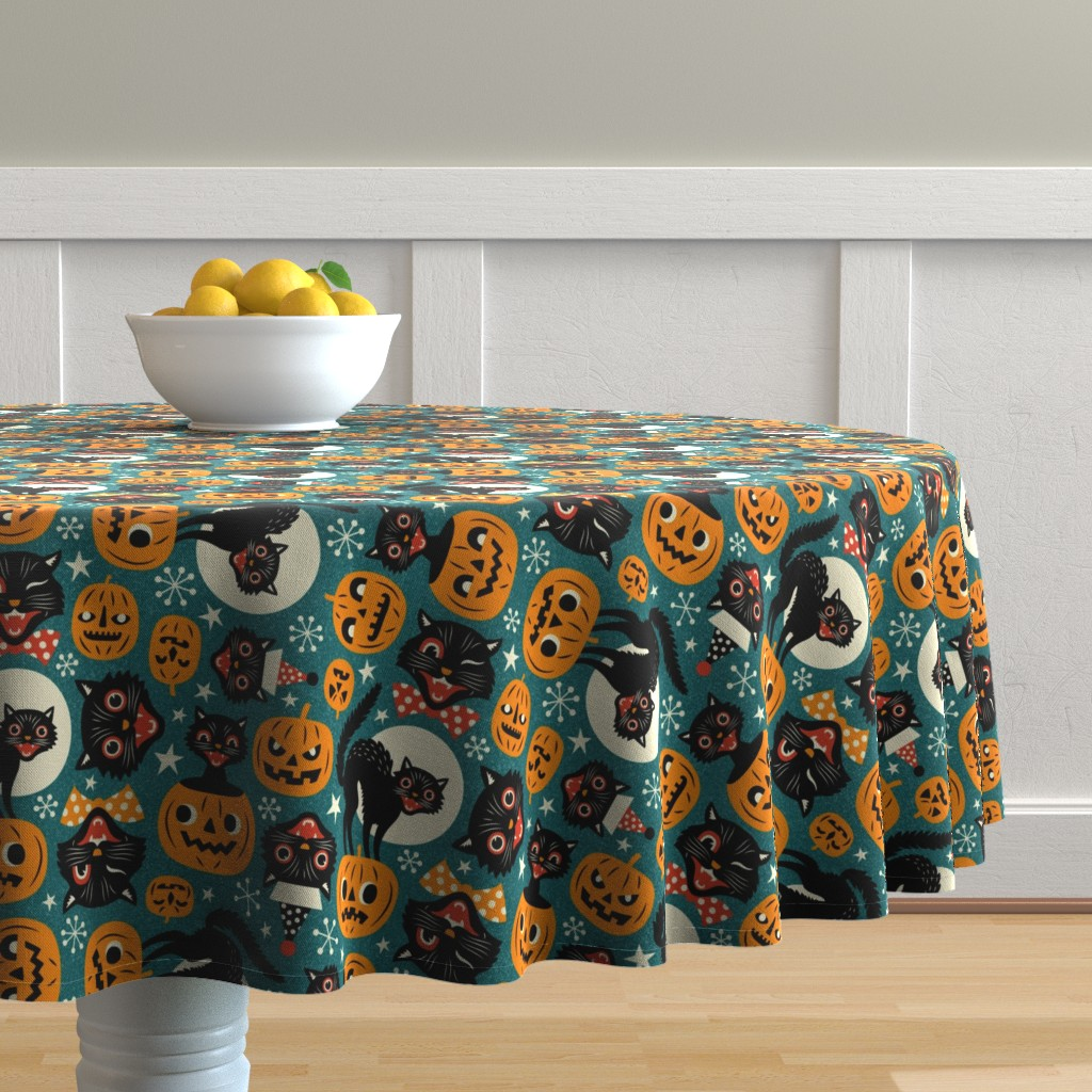 Malay Round Tablecloth featuring spooky vintage cats and pumpkins - dark blue by mirabelleprint