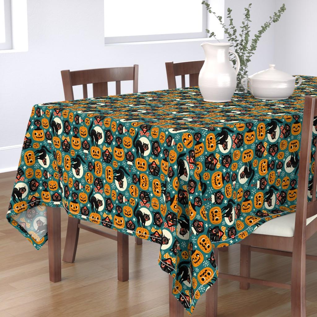 Bantam Rectangular Tablecloth featuring spooky vintage cats and pumpkins - dark blue by mirabelleprint