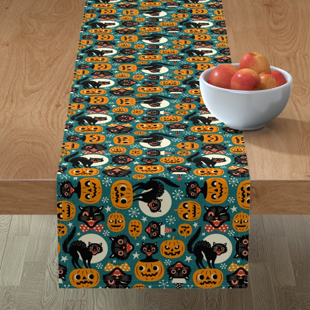 Minorca Table Runner featuring spooky vintage cats and pumpkins - dark blue by mirabelleprint