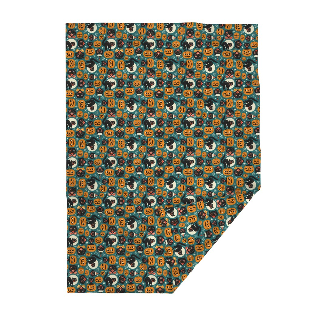 Lakenvelder Throw Blanket featuring spooky vintage cats and pumpkins - dark blue by mirabelleprint
