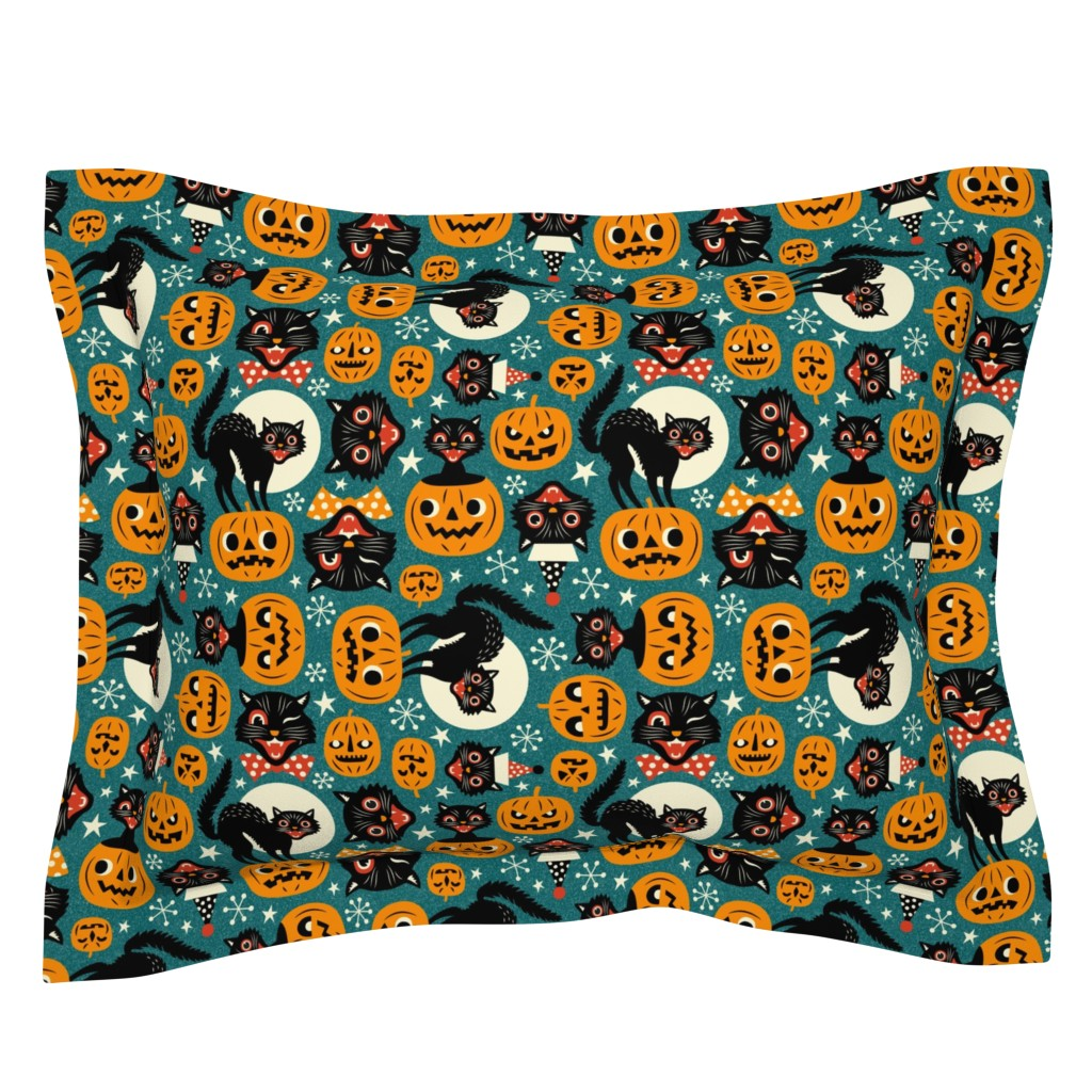 Sebright Pillow Sham featuring spooky vintage cats and pumpkins - dark blue by mirabelleprint