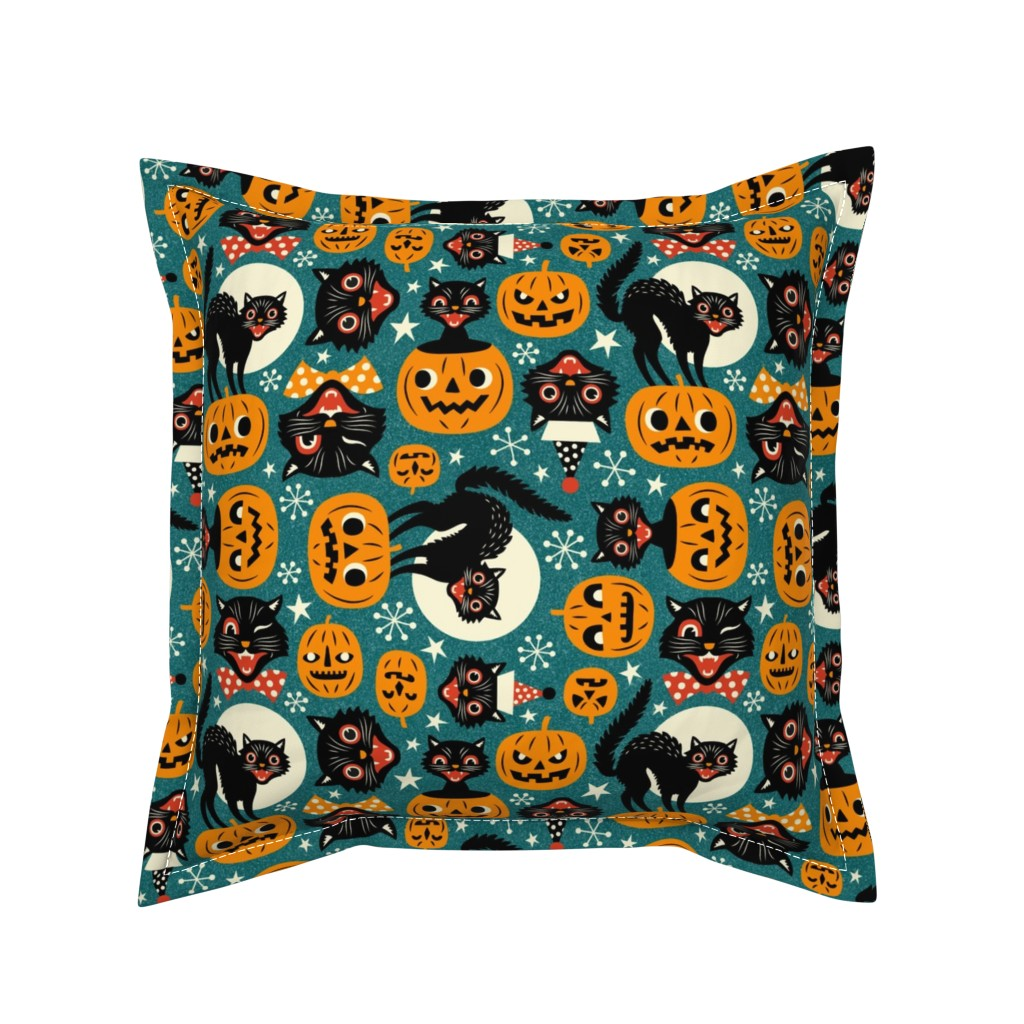 Serama Throw Pillow featuring spooky vintage cats and pumpkins - dark blue by mirabelleprint