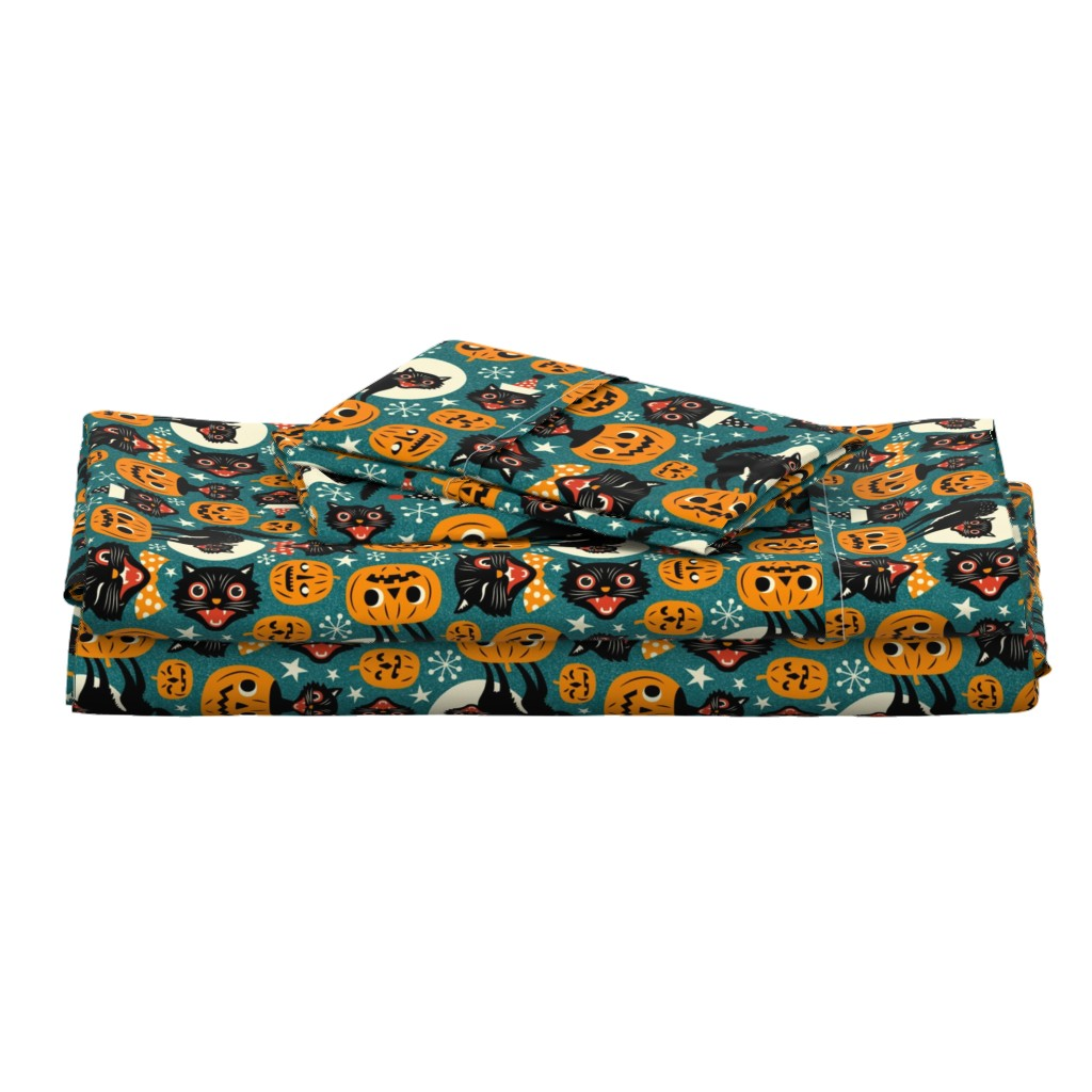 Langshan Full Bed Set featuring spooky vintage cats and pumpkins - dark blue by mirabelleprint