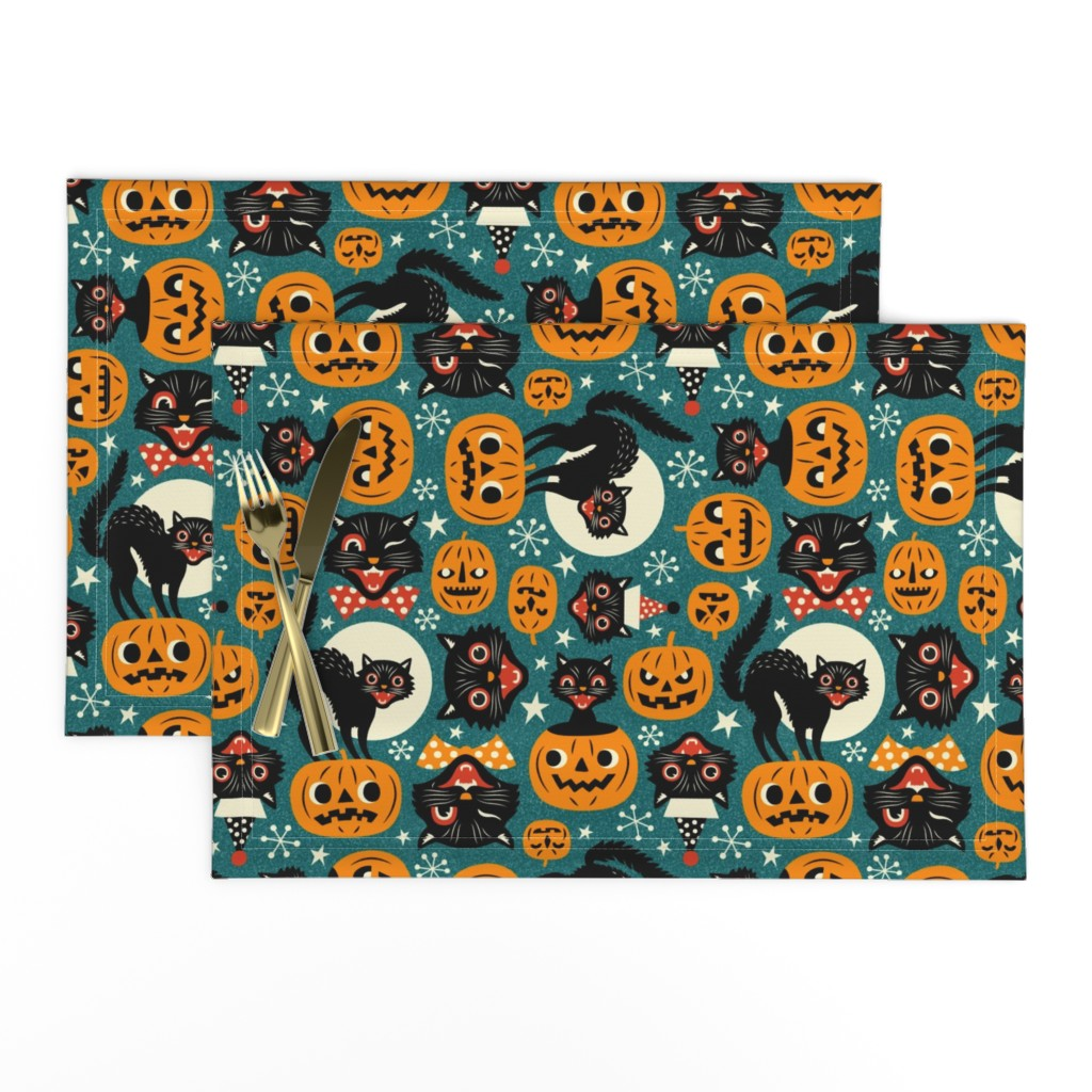 Lamona Cloth Placemats featuring spooky vintage cats and pumpkins - dark blue by mirabelleprint