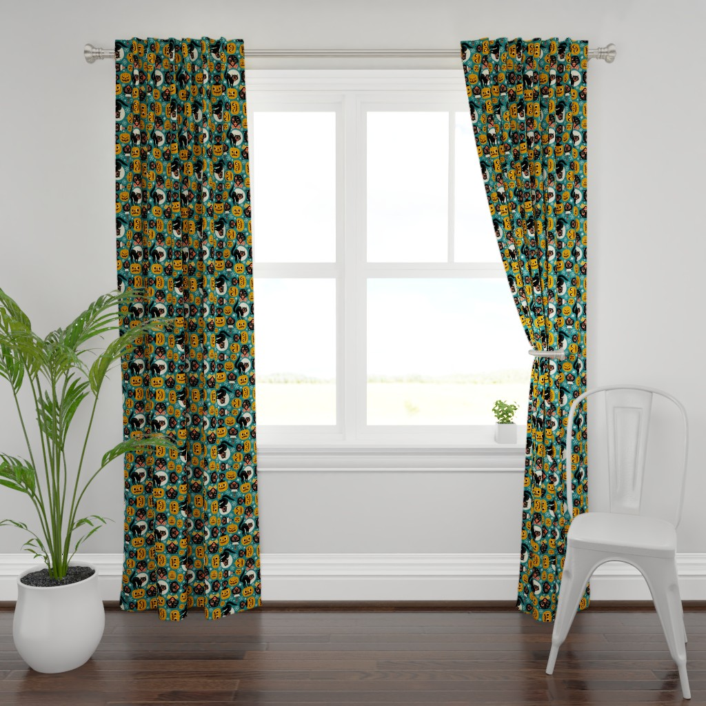 Plymouth Curtain Panel featuring spooky vintage cats and pumpkins - dark blue by mirabelleprint