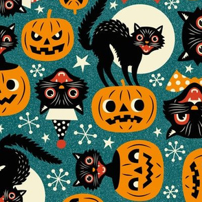 spooky vintage cats and pumpkins - dark blue